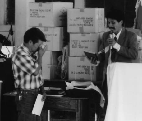Gaspar weeping when he received his first Bible after 40 years of translation.